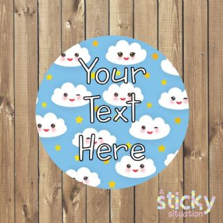Personalised Customisable Stickers - Kawaii Clouds Design